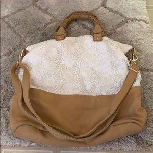 Merona white and brown shoulder bag